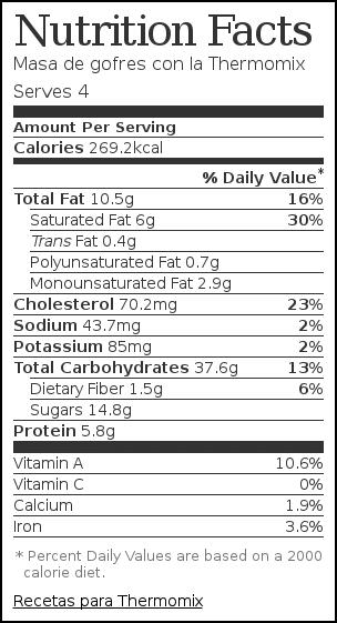 Nutrition label for Masa de gofres con la Thermomix