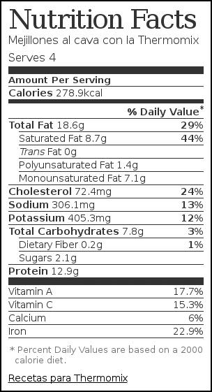 Nutrition label for Mejillones al cava con la Thermomix