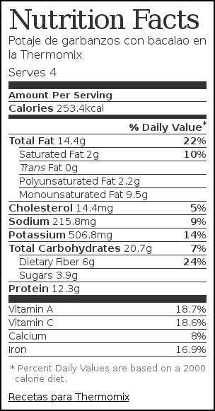Nutrition label for Potaje de garbanzos con bacalao en la Thermomix
