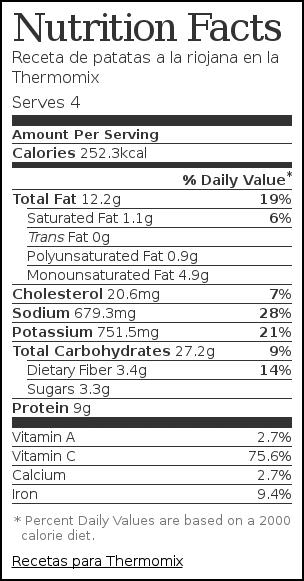 Nutrition label for Receta de patatas a la riojana en la Thermomix