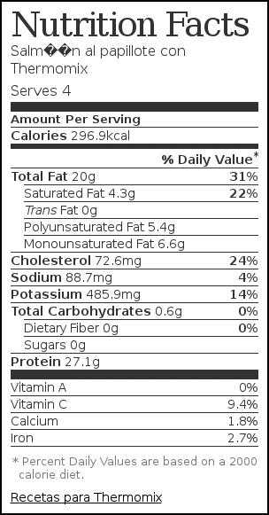 Nutrition label for Salmón al papillote con Thermomix