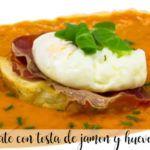Sopa de tomate con tosta de jamon y huevo con thermomix