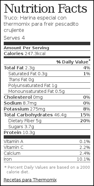 Nutrition label for Truco: Harina especial con thermomix para freir pescadito crujiente