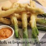 Calçots en tempura con Thermomix
