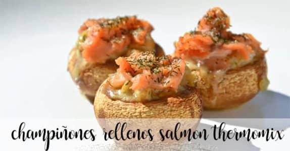 Champiñones rellenos de salmón con thermomix