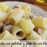 Rigatonis con patatas y panceta con thermomix