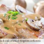 Chuletas de cerdo con salsa de champiñones con thermomix