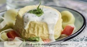 Flan de queso de cabra con puerros con thermomix