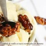 Helado de vainilla con nueces caramelizadas con Thermomix