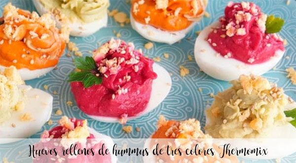 Huevos rellenos de hummus de tres colores Thermomix
