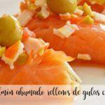 Rollitos de salmón ahumado con gulas y cangrejo con Thermomix