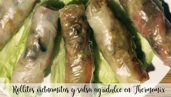 Rollitos vietnamitas y salsa agridulce en Thermomix