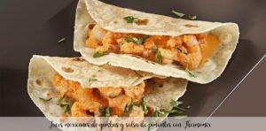 Tacos mexicanos de gambas y salsa de pimientos con Thermomix
