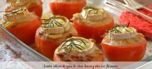 Tomates rellenos de queso de cabra, beicon y setas con Thermomix