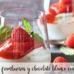 Crema de frambuesas y chocolate blanco con Thermomix