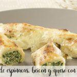 Crepes de espinacas, beicon y queso con thermomix