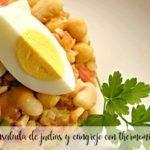 Ensalada de legumbres y cangrejo