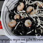 espaguetis negros con gulas con thermomix