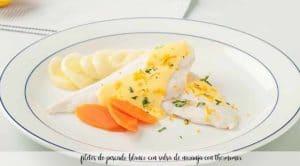 filetes de pescado al vapor con salsa de naranja con thermomix