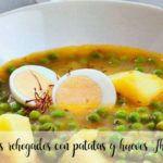 Guisantes rehogados con patatas y huevos con Thermomix