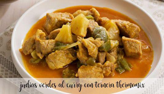 Judías verdes al curry con ternera con Thermomix