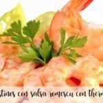 Langostinos con salsa romescu con thermomix