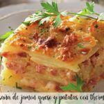 Lasaña de patatas, jamón y queso con thermomix