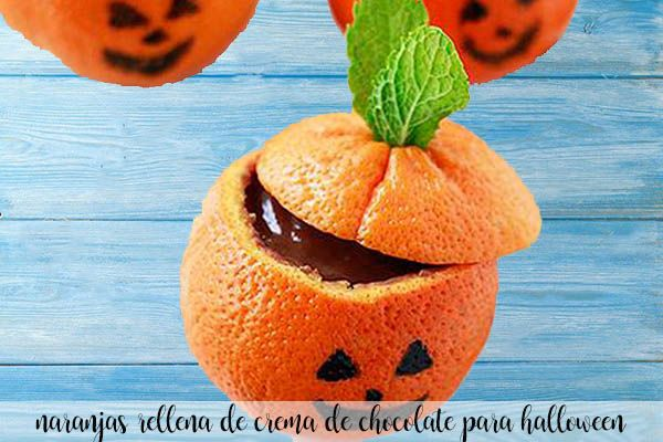 Naranjas rellenas de chocolate para halloween con thermomix