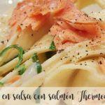 Nidos en salsa con salmón Thermomix