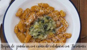 Ñoquis de zanahoria con crema de calabacín con Thermomix