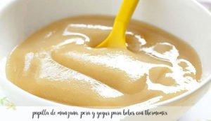 papilla de manzana, pera y yogur para bebes con thermomix