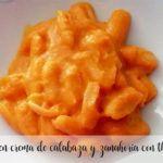 pasta en crema de calabaza y zanahoria con thermomix