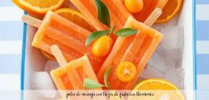 polos de naranja con trozos de fruta con thermomix