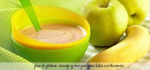 pure de platano, naranja y manzana para bebes con thermomix
