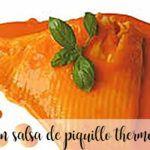 Raya en salsa de piquillos con thermomix