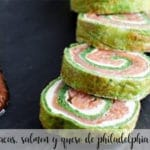 rollo de espinacas, salmon y queso de philadelphia con thermomix