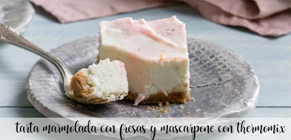 tarta marmolada de fresas y mascapone con thermomix