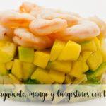 Tartar de aguacate, mango y langostinos con thermomix